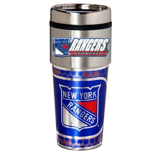 New York Rangers 16 oz Stainless Steel Travel Tumbler with Metallic Graphics