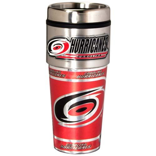 Carolina Hurricanes 16 oz Stainless Steel Travel Tumbler with Metallic Graphics
