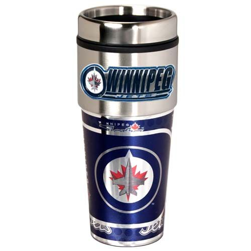 Winnipeg Jets 16 oz Stainless Steel Travel Tumbler with Metallic Graphics