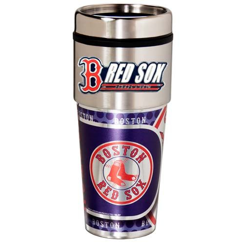 Boston Red Sox 16 oz Stainless Steel Travel Tumbler with Metallic Graphics
