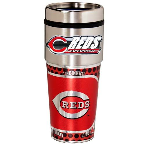 Cincinnati Reds 16 oz Stainless Steel Travel Tumbler with Metallic Graphics