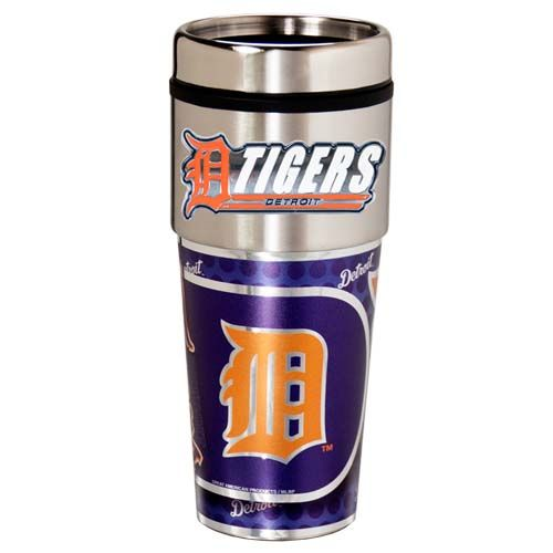 Detroit Tigers 16 oz Stainless Steel Travel Tumbler with Metallic Graphics
