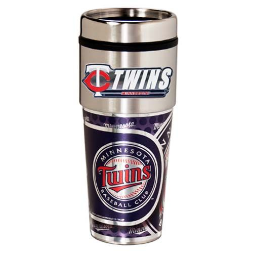 Minnesota Twins 16 oz Stainless Steel Travel Tumbler with Metallic Graphics