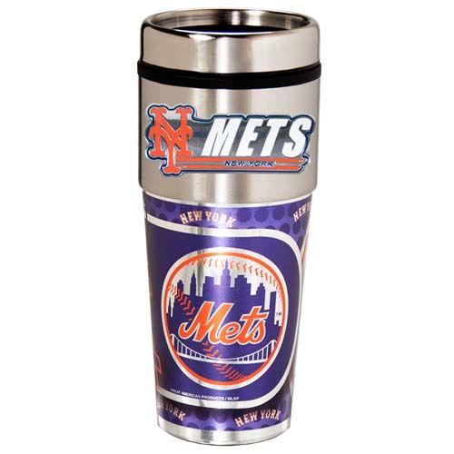 New York Mets 16 oz Stainless Steel Travel Tumbler with Metallic Graphics