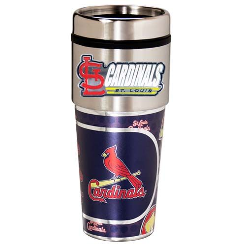 St. Louis Cardinals 16 oz Stainless Steel Travel Tumbler with Metallic Graphics