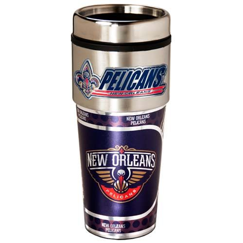 New Orleans Pelicans 16 oz Stainless Steel Travel Tumbler with Metallic Graphics