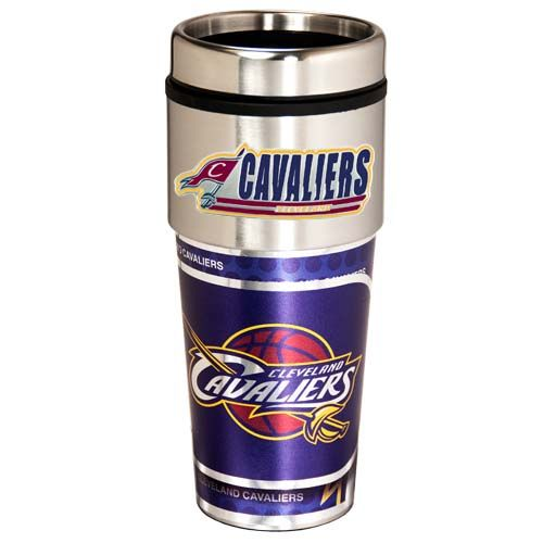 Cleveland Cavaliers 16 oz Stainless Steel Travel Tumbler with Metallic Graphics