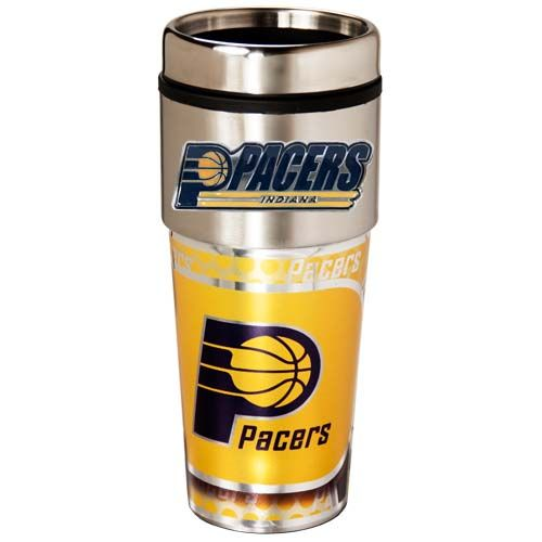 Indiana Pacers 16 oz Stainless Steel Travel Tumbler with Metallic Graphics
