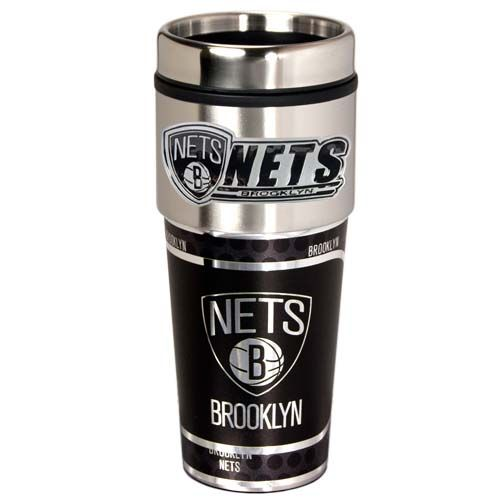 Brooklyn Nets 16 oz Stainless Steel Travel Tumbler with Metallic Graphics