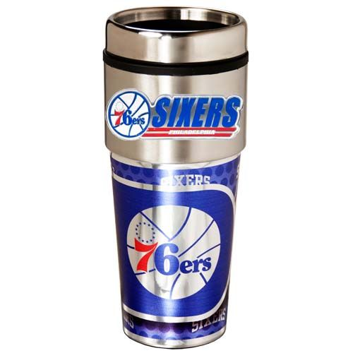 Philadelphia 76Ers 16 oz Stainless Steel Travel Tumbler with Metallic Graphics