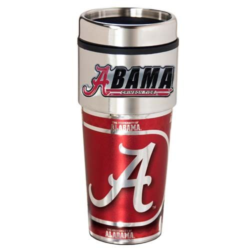 Alabama Crimson Tide 16 oz Stainless Steel Travel Tumbler with Metallic Graphics