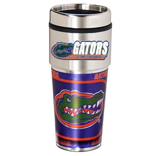 Florida Gators 16 oz Stainless Steel Travel Tumbler with Metallic Graphics