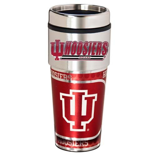 Indiana Hoosiers 16 oz Stainless Steel Travel Tumbler with Metallic Graphics