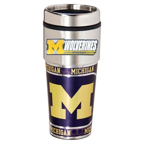 Michigan Wolverines 16 oz Stainless Steel Travel Tumbler with Metallic Graphics