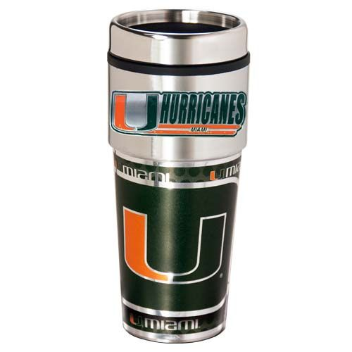 Miami Hurricanes 16 oz Stainless Steel Travel Tumbler with Metallic Graphics