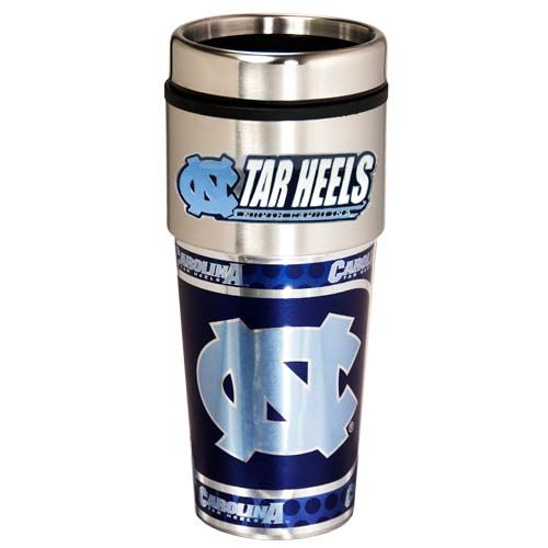 North Carolina Tar Heels 16 oz Stainless Steel Travel Tumbler with Metallic Graphics