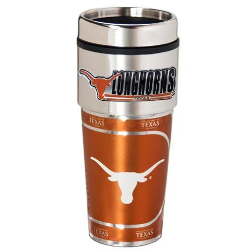 Texas Longhorns 16 oz Stainless Steel Travel Tumbler with Metallic Graphics