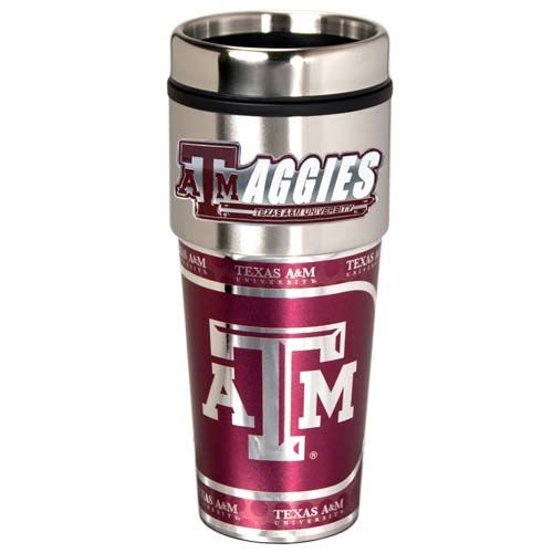 Texas A&M Aggies 16 oz Stainless Steel Travel Tumbler with Metallic Graphics