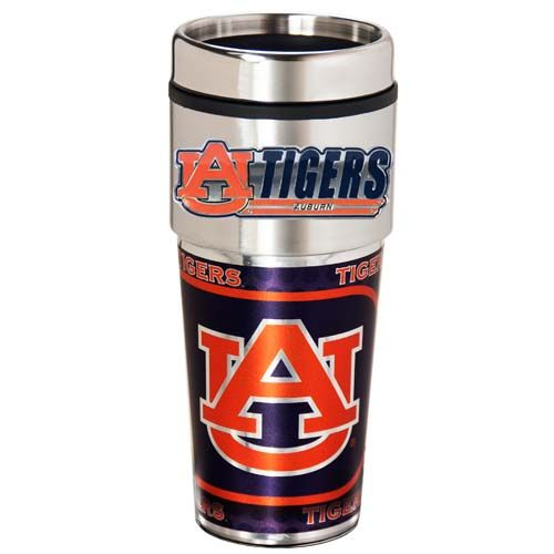 Auburn Tigers 16 oz Stainless Steel Travel Tumbler with Metallic Graphics