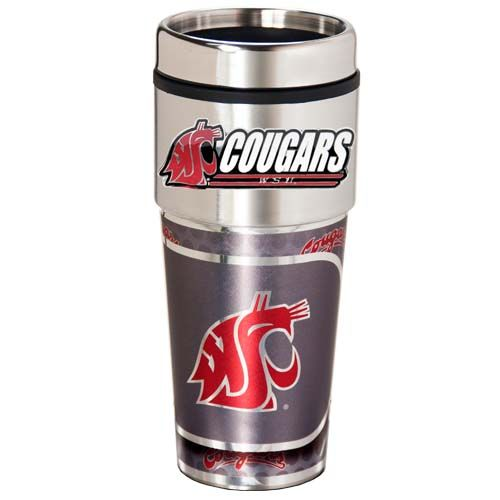 Washington State Cougars 16 oz Stainless Steel Travel Tumbler with Metallic Graphics