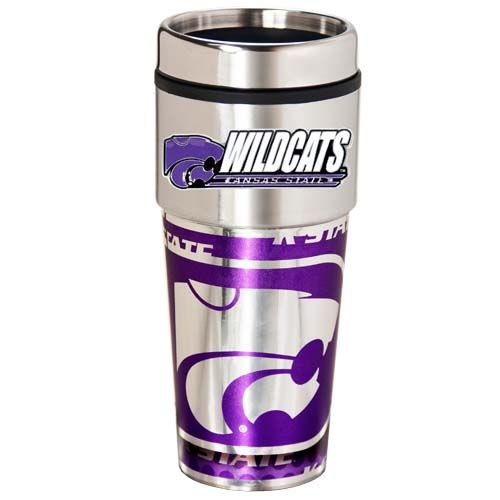 Kansas State Wildcats 16 oz Stainless Steel Travel Tumbler with Metallic Graphics