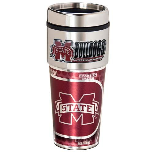 Mississippi State Bulldogs 16 oz Stainless Steel Travel Tumbler with Metallic Graphics
