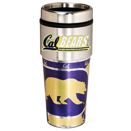 Cal Golden Bears 16 oz Stainless Steel Travel Tumbler with Metallic Graphics