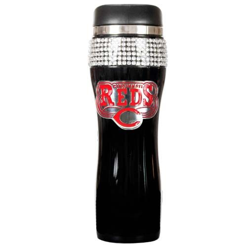 Cincinnati Reds MLB Cincinnati Reds Black Stainless Steel Bling Travel Tumbler (Black)