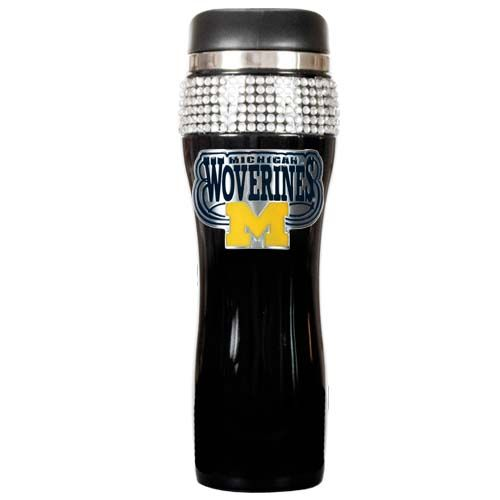 Michigan Wolverines NCAA Michigan Wolverines Black Stainless Steel Bling Travel Tumbler (Black)