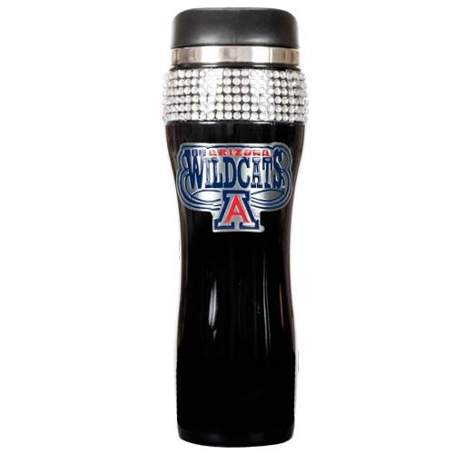 Arizona Wildcats NCAA Arizona Wildcats Black Stainless Steel Bling Travel Tumbler (Black)