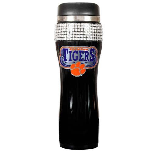 Clemson Tigers NCAA Clemson Tigers Black Stainless Steel Bling Travel Tumbler (Black)