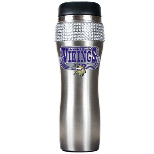 Minnesota Vikings Stainless Steel Bling Travel Tumbler (Silver)