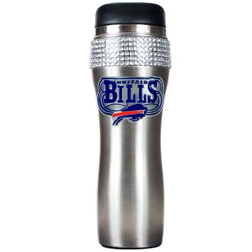 Buffalo Bills Stainless Steel Bling Travel Tumbler (Silver)