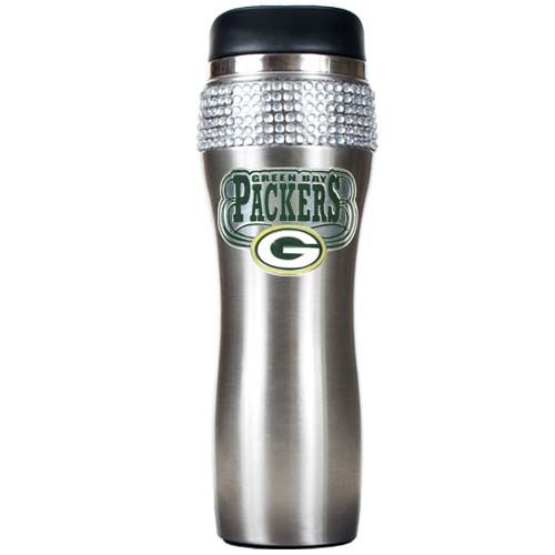 Green Bay Packers Stainless Steel Bling Travel Tumbler (Silver)