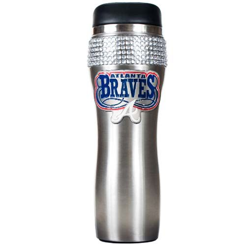Atlanta Braves MLB Atlanta Braves Stainless Steel Bling Travel Tumbler (Silver)