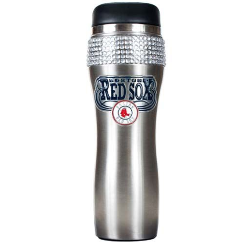 Boston Red Sox MLB Boston Red Sox Stainless Steel Bling Travel Tumbler (Silver)