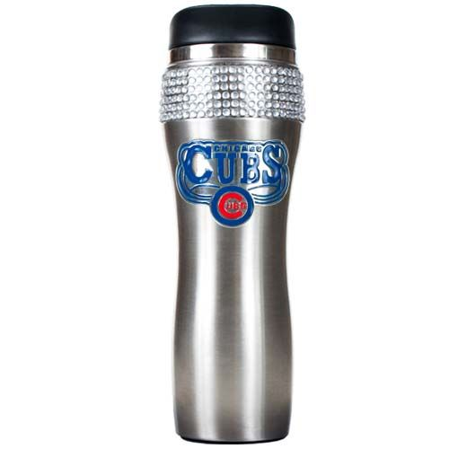 Chicago Cubs MLB Chicago Cubs Stainless Steel Bling Travel Tumbler (Silver)