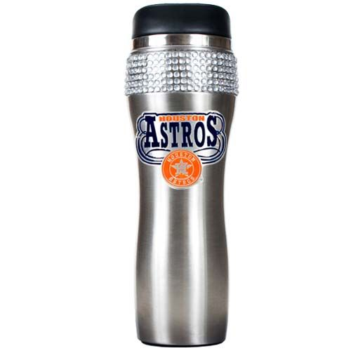 Houston Astros MLB Houston Astros Stainless Steel Bling Travel Tumbler (Silver)