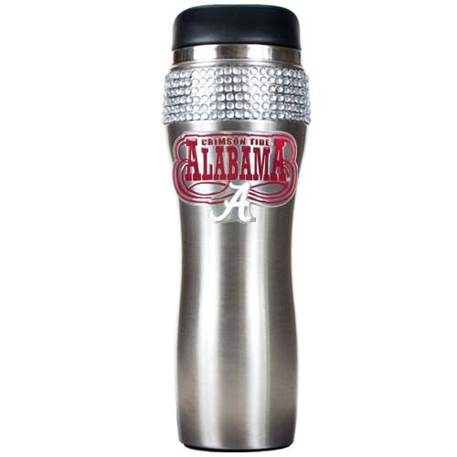 Alabama Crimson Tide NCAA Alabama Crimson Tide Stainless Steel Bling Travel Tumbler (Silver)