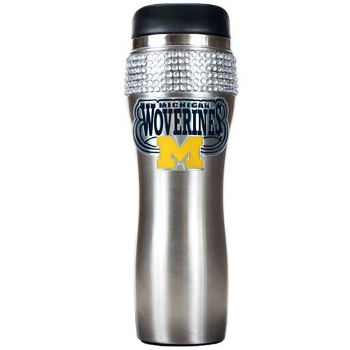 Michigan Wolverines NCAA Michigan Wolverines Stainless Steel Bling Travel Tumbler (Silver)