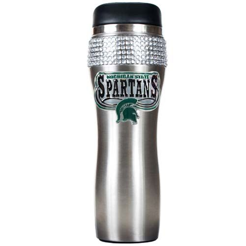 Michigan State Spartans NCAA Michigan State Spartans Stainless Steel Bling Travel Tumbler (Silver)