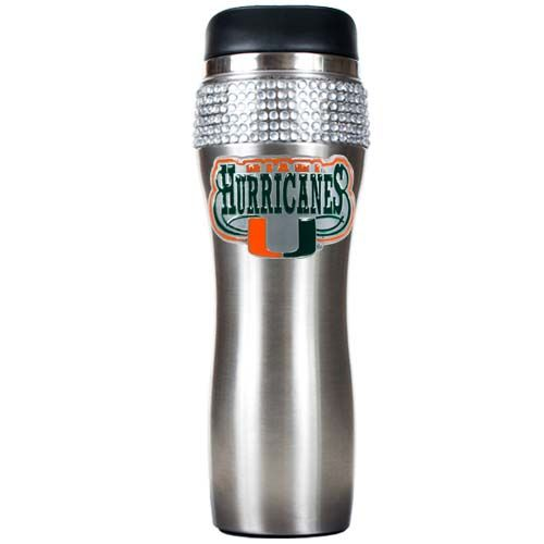 Miami Hurricanes NCAA Miami Hurricanes Stainless Steel Bling Travel Tumbler (Silver)