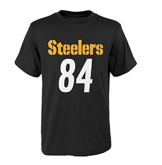 Outerstuff Antonio Brown Pittsburgh Steelers #84 NFL Youth Performance Mainliner Name & Number T-Shirt
